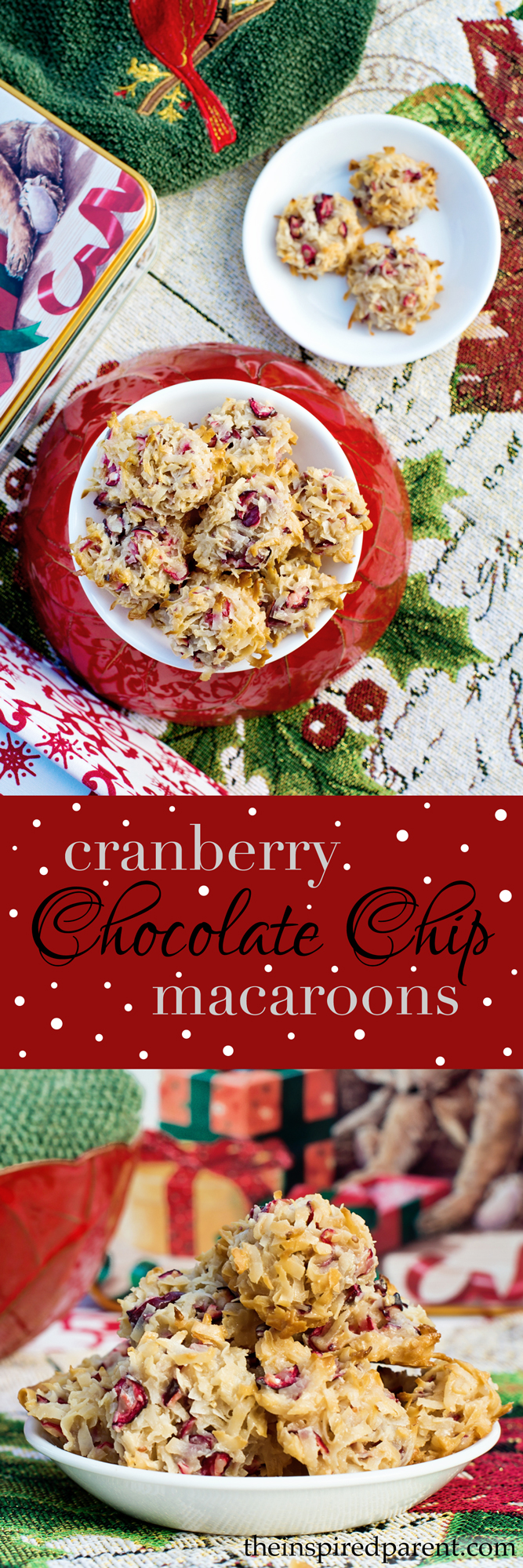 Cranberry Chocolate Chip Macaroons | theinspiredparent.com